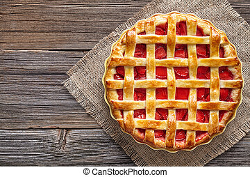 Traditional gourmet strawberry pie tart cake sweet baked pastry food