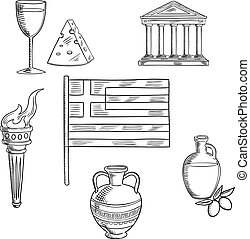 Traditional Greece symbols and culture objects