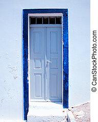 Traditional greek door on Santorini island, Greece -...