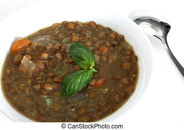 Traditional greek lentil soup - The traditional Greek lentil...