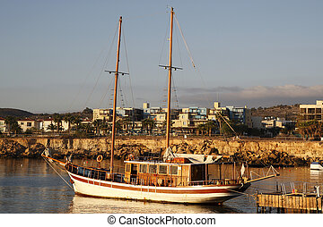 traditional greek schooner used for pleasure trips fig tree...