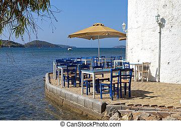 Traditional Greek tavern by the sea at Skiathos island