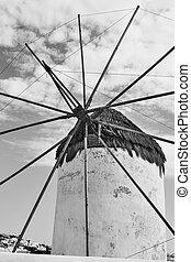 Traditional greek windmill in Mykonos