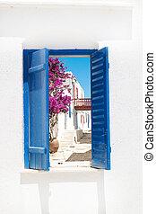 Traditional greek window on Sifnos island, Greece