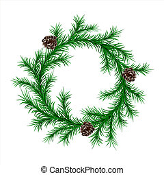 traditional green christmas fir wreath with cones isolated on white background