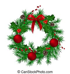 Traditional green christmas wreath with cones, holly berry, red metallic ribbon, fir, christmas balls