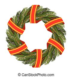 Traditional green wreath for Christmas. Christmas tree branches and red tape. Decorating for holidays: new years Eve. Round frame of green branches of a pine or FIR.