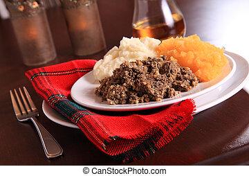 Traditional Haggis Dinner - Scottish Haggis Table Setting...