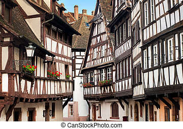 Traditional half-timbered houses in the old town of Strasbourg, Alsace, France