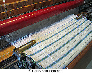 Weaving with a traditional old style hand loom