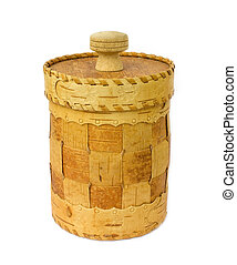 Traditional hand made birch bark box isolated on white background.
