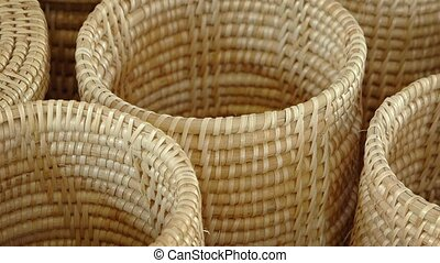 Traditional Hand Woven Baskets in a Public Market. Video...