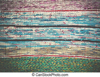 Traditional Handmade old colored carpet, striped pattern