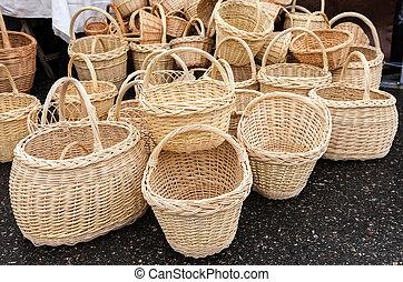 Traditional handmade wicker baskets