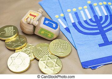 Traditional Hanukkah Dreidels, Napkins and Chocolate Gelt Coins