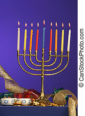 menorah fully lite - traditional Hanukkah menorah fully lite