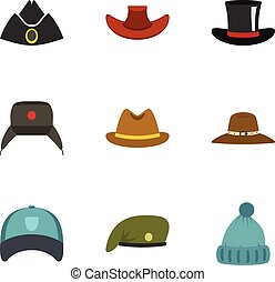 Traditional hat icon set, flat style - Traditional hat icon...