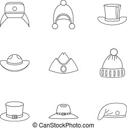 Traditional hat icon set, outline style - Traditional hat...