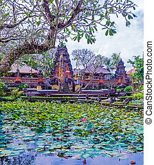 Traditional Hindu Temple, Bali - Inside Hindu Temple, Ubud,...