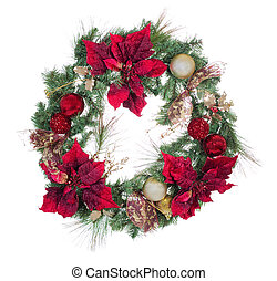 Traditional holiday Christmas wreath isolated on white background