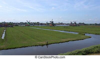 Traditional Holland Windmills in Zaanse Schans, Netherlands....
