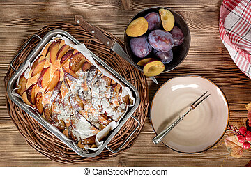 Traditional homemade cake with fruit.