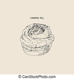 Traditional homemade cinnamon rolls , sketch vector.
