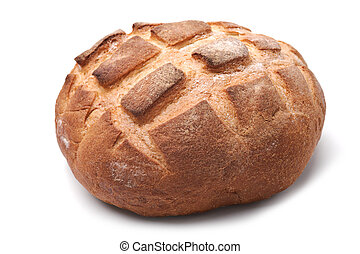 Traditional homemade round bread isolated on a white background