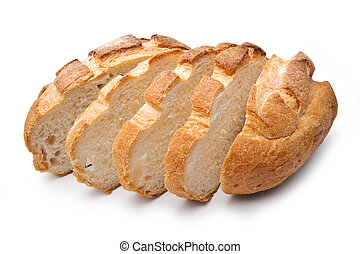 Traditional homemade round bread, sliced, isolated on a white background