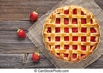 Traditional homemade strawberry pie tart cake sweet baked pastry