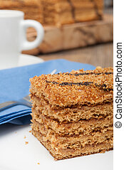 Honey Cake - Traditional Honey Cake on Plate and White Cup ...