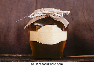 Traditional honey jar made in Granada Axarquia, Andalusia, Spain. Gourmet production of andalusian countryside