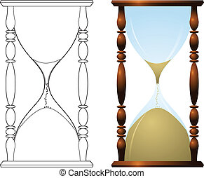Traditional hourglass illustration - An antique hourglass ...