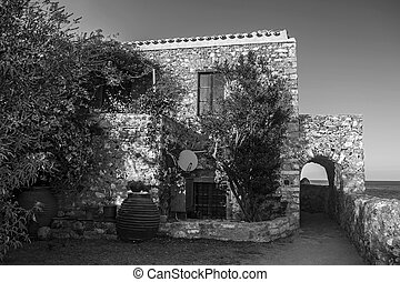 traditional house at the castle of Monemvasia Peloponnese Greece - black and white photo