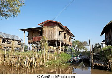 Traditional house on the Inle Lake