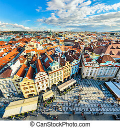 Traditional house roofs in Prague - Aerial view of ...