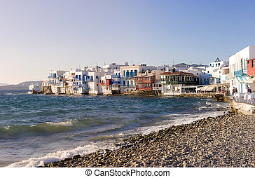 traditional houses by the sea in Mykonos