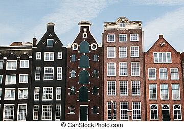Traditional houses in Amsterdam in the Netherlands.