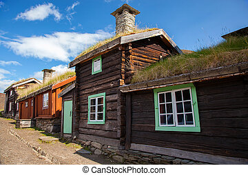 Traditional houses of copper mines town of Roros, Norway