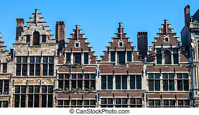 Traditional houses on Market square in the center of Antwerp, Belgium