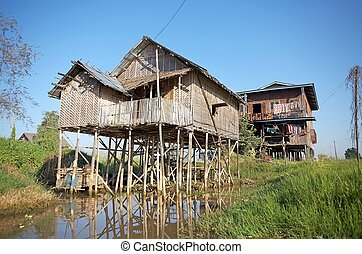 Traditional houses on the Inle Lake
