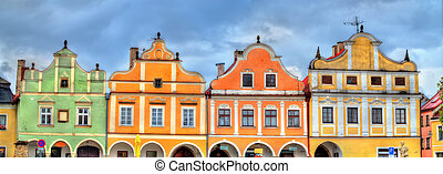 Traditional houses on the main square of Telc, Czech...