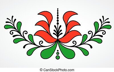 Traditional Hungarian floral motif with stylized leaves and ...