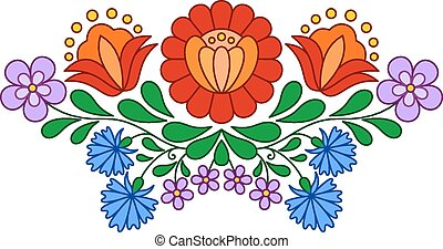 Traditional Hungarian folk embroidery pattern isolated on...