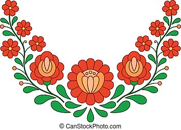 Traditional Hungarian folk embroidery pattern isolated on ...