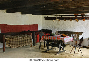 Traditional hungarian house interio