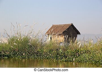 Traditional hut on the Inle Lake