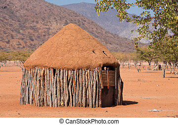 Traditional huts of himba people - Closeup of traditional...