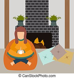 Traditional hygge scenario. Relaxing time for people - ...