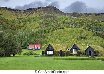 Traditional Icelandic houses with grass roof in Skogar Folk Museum, Iceland.